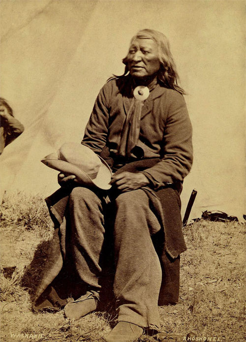 An old photograph of Shoots The Buffalo Running aka Chief Washakie - Shoshonee 1870.