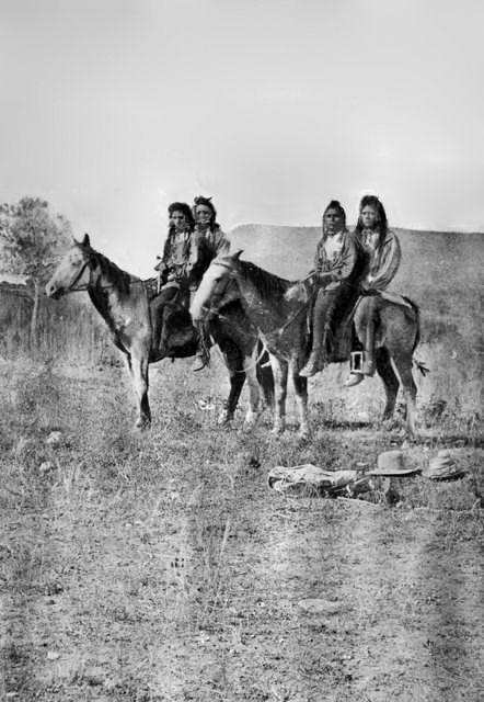 An old photograph of Shoshone Men 1880.