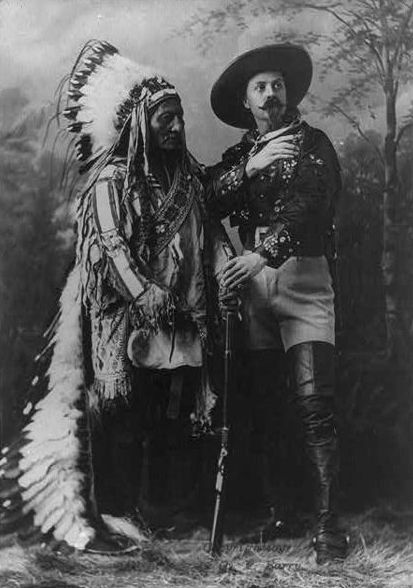 An old photograph of Sitting Bull (Hunkpapa Chief) with Buffalo Bill Cody 1885 [A].