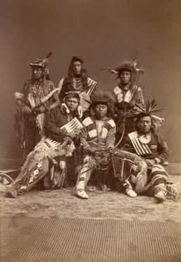 An old photograph of Six American Indian Men.