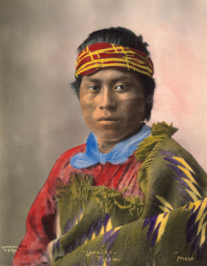 An old photograph of Songlike - Pueblo 1899 [Colorized].