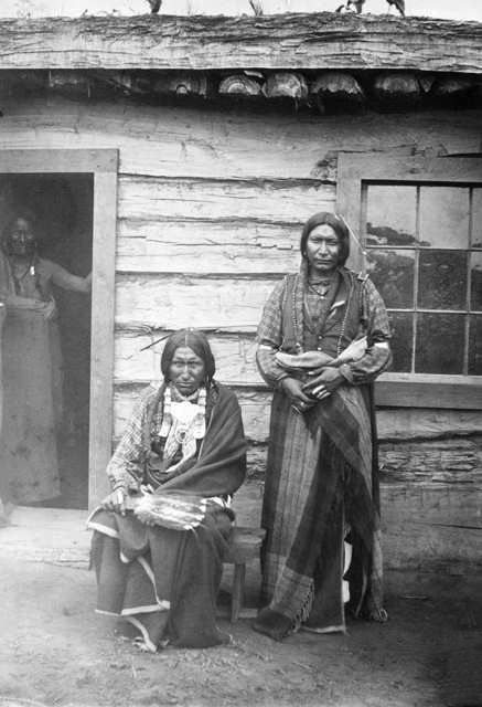 An old photograph of Three Southern Cheyenne Men 1880.