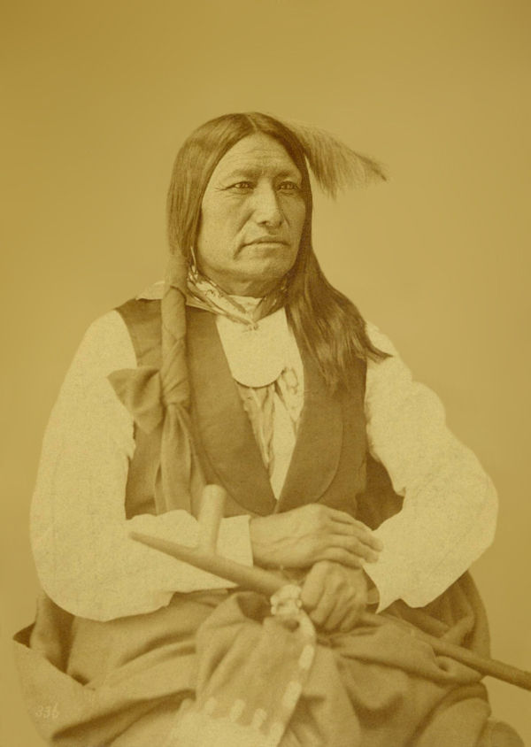 An old photograph of Spotted Tail aka Chief Sinte Galeska aka Cin-Te-Gi-Le-Ska aka Tshin-Ta-Ge-Las-Kah - Brule Sioux 1872.