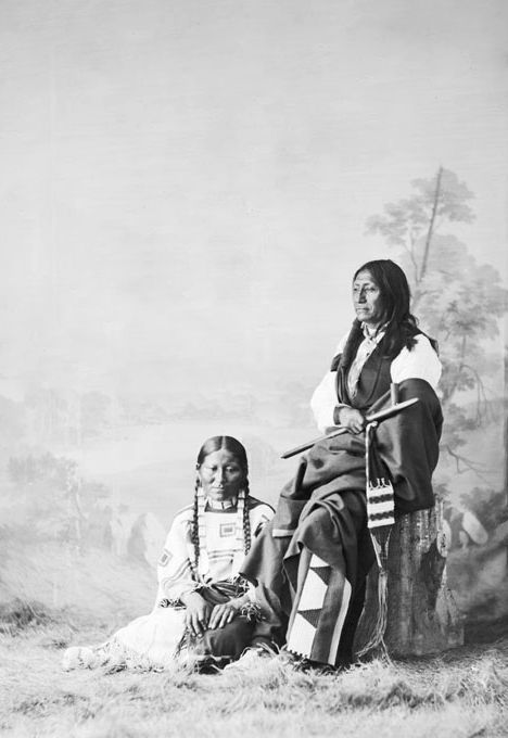 An old photograph of Spotted Tail and Wife - Sicangu 1872.