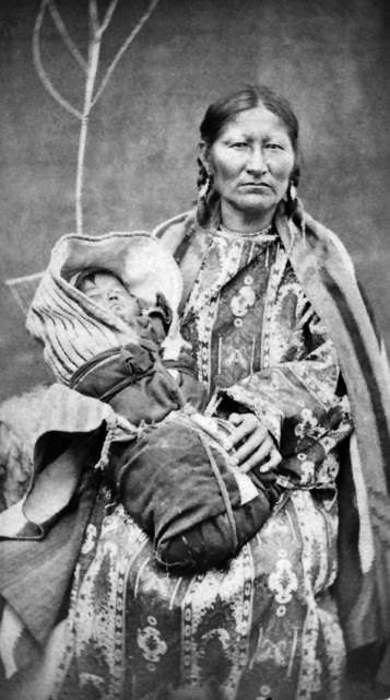 An old photograph of Spotted Tail's Wife - Sicangu c1875.