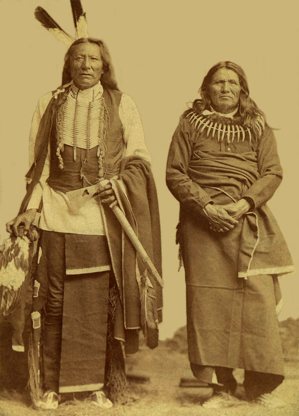 An old photograph of Standing Bear and White Eagle - Ponca.