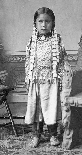 An old photograph of Standing Holy aka Wakanyan Najin - Hunkpapa (Sitting Bull's Daughter) [A].