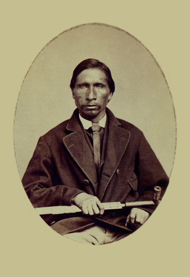 An old photograph of Standing Soldier aka Akicita Nazin or A-ki-ci Tan-na-jin or A-ki-ci-ta-nazin - Santee Sioux 1867 [A].