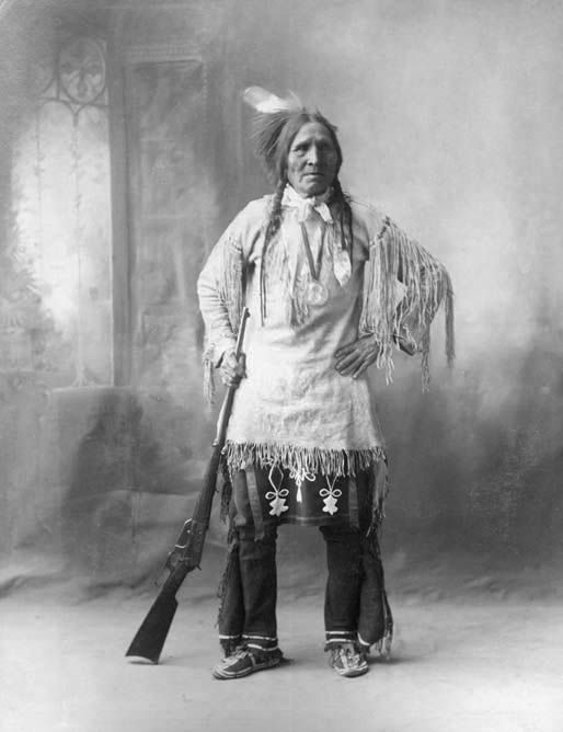 An old photograph of Starving Elk aka Standing Elk aka Little Hand aka Spotted Hawk - Southern Cheyenne 1898.