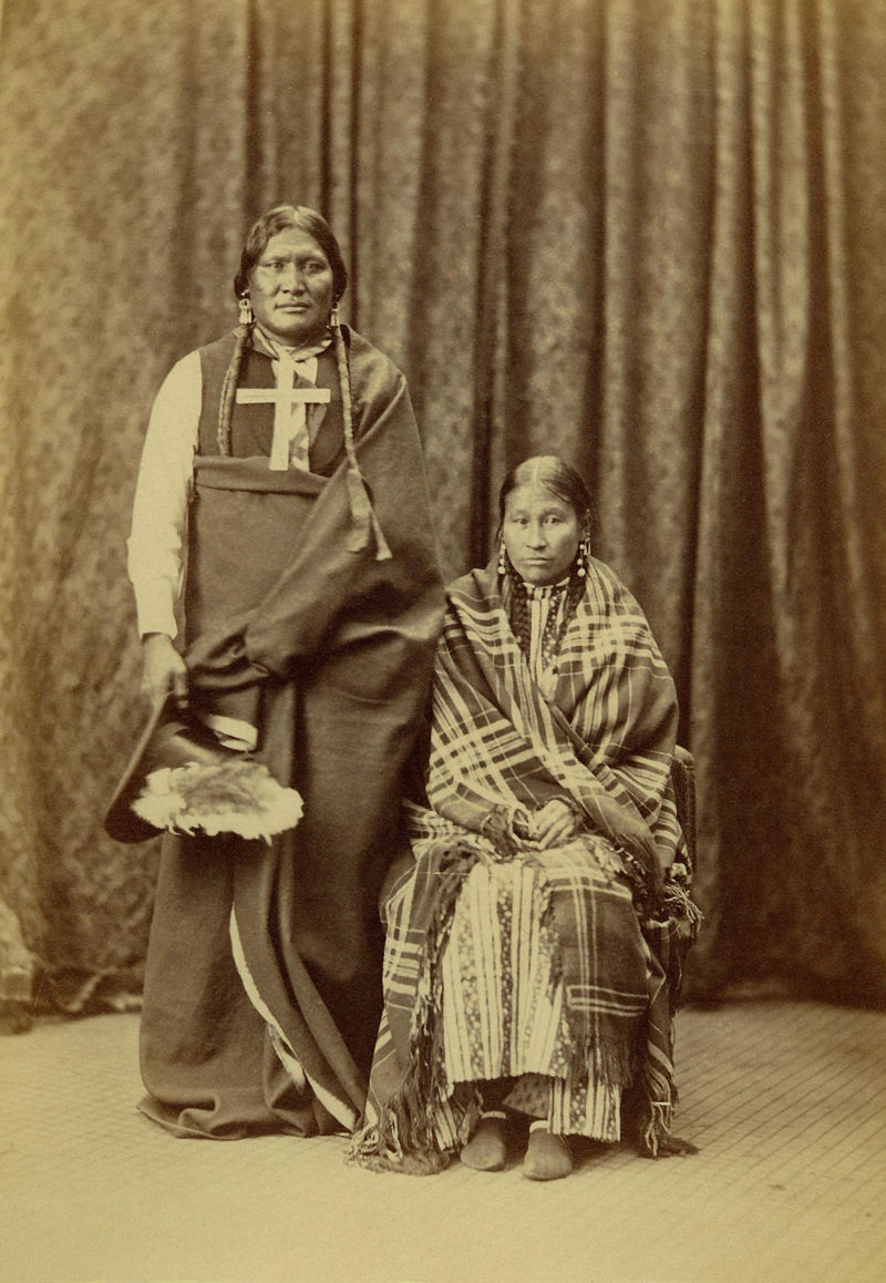 An old photograph of Stone Calf and Wife - Southern Cheyenne 1871-73 [A].