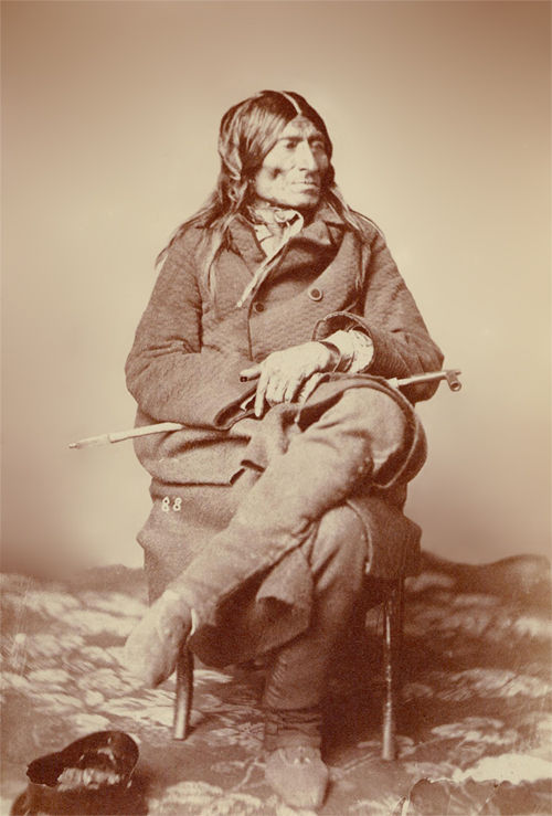 An old photograph of Tail Feather Joined aka Upi-t-ya-hde-a - Wahpeton Chief 1858.