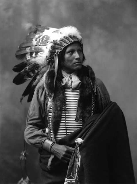 An old photograph of Thomas No Water - Oglala 1899.
