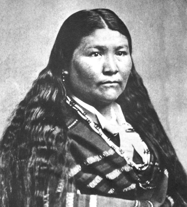 An old photograph of Toby Riddle aka Woman Of The Brave Heart aka The Strong Hearted Woman aka Kaitchkona Winema - Modoc 1873.