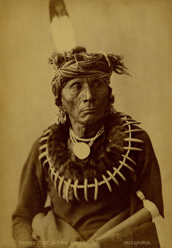 An old photograph of True Eagle aka Thrach-tche, nephew of Ah-ho-che-ka-thocka (Quapaw Indian Striker) - Missouria 1874.