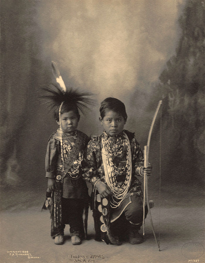 An old photograph of Two Little Braves - Sac and Fox 1898 [A].