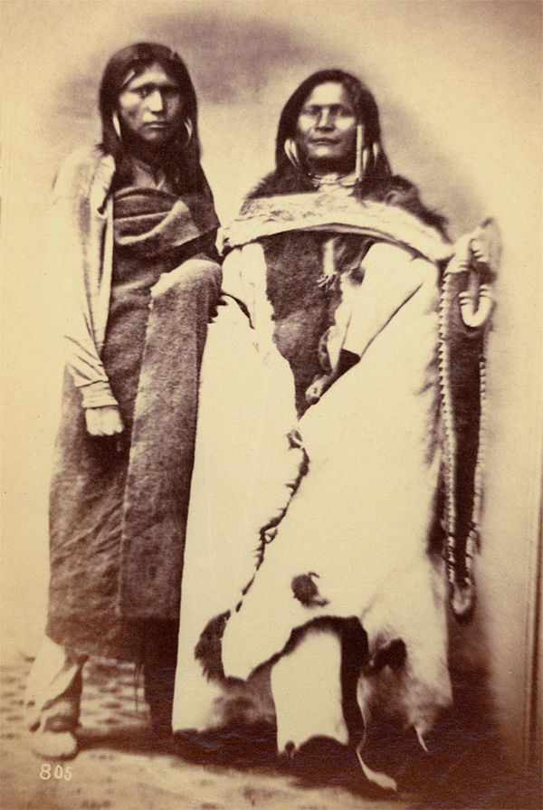 An old photograph of Two Pah-Ute Indians 1869.