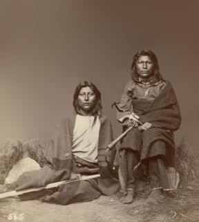 An old photograph of Two Pawnee Men.