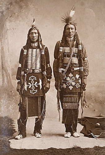 An old photograph of Two Ponca Indians.