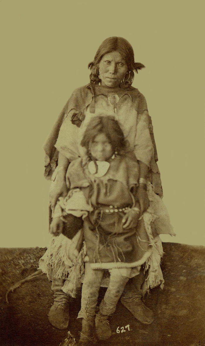 An old photograph of Two Pueblo Girls from Taos 30th Sept 1871.
