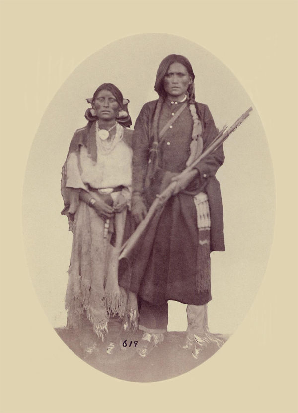 An old photograph of Two Pueblo Indians from Taos 30th Sept 1871.