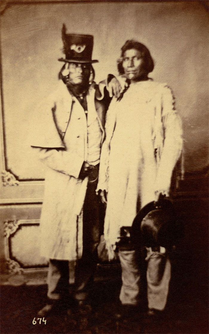An old photograph of Two Shoshonee Chiefs 1869.