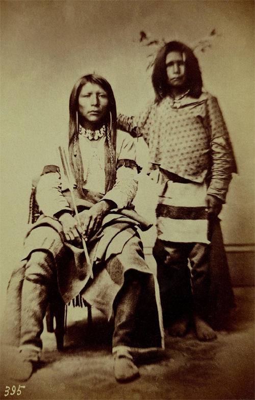 An old photograph of Two Shoshonee or Snake Indians 1869.