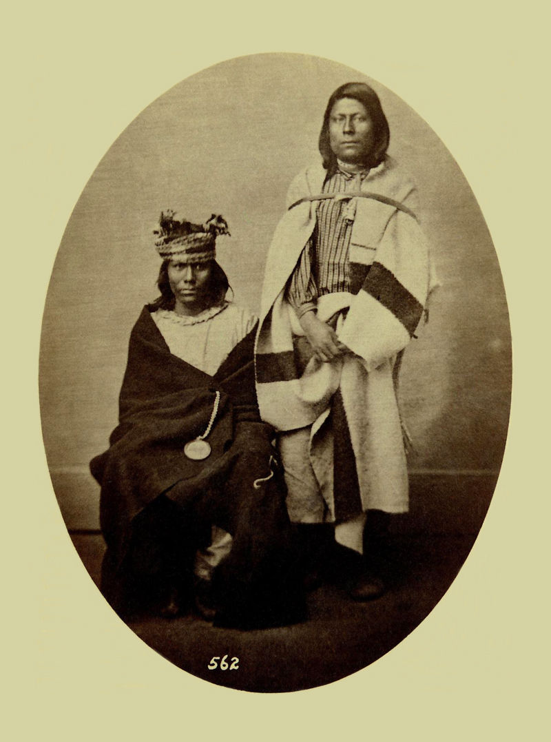 An old photograph of Two Unidentified Pawnee Indians 1868.