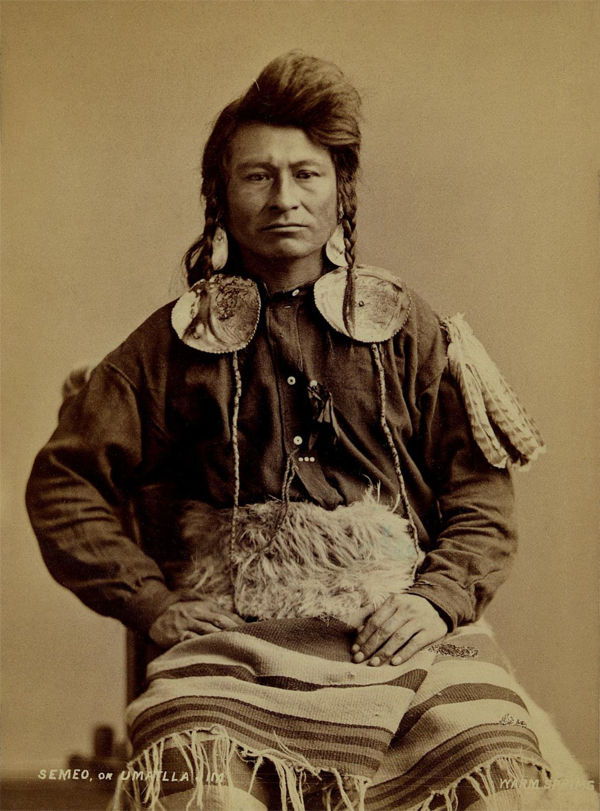 An old photograph of Umatilla Jim aka Semeo - Warm Springs 1875 or 1877.