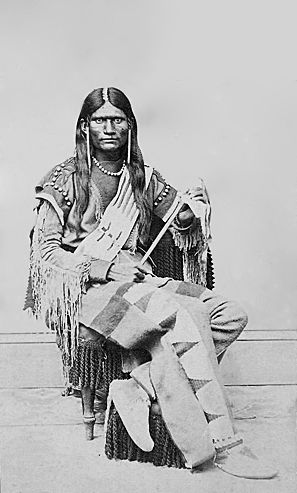 An old photograph of a Ute Man Snake Indian c1868.
