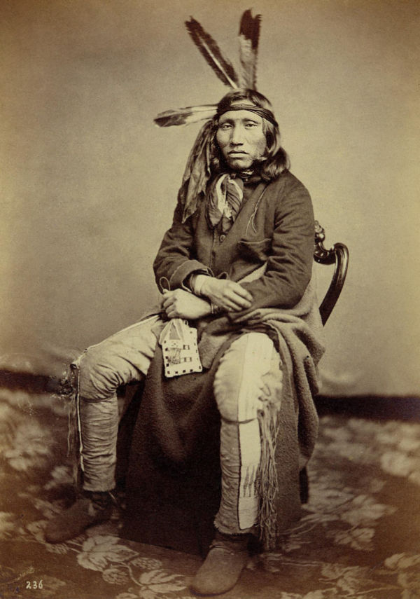 An old photograph of Walking Elk aka Hekhaka-Mani aka He-ha-ka-a-ma-na aka A-ha-ka-ma-ni - Mixed-Blood Yankton 1858.