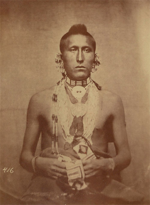 An old photograph of White Horse aka As-sau-taw-ka - Pawnee 1869.