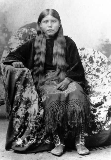 An old photograph of the Wife of Oscar Yellow Wolf - Comanche.