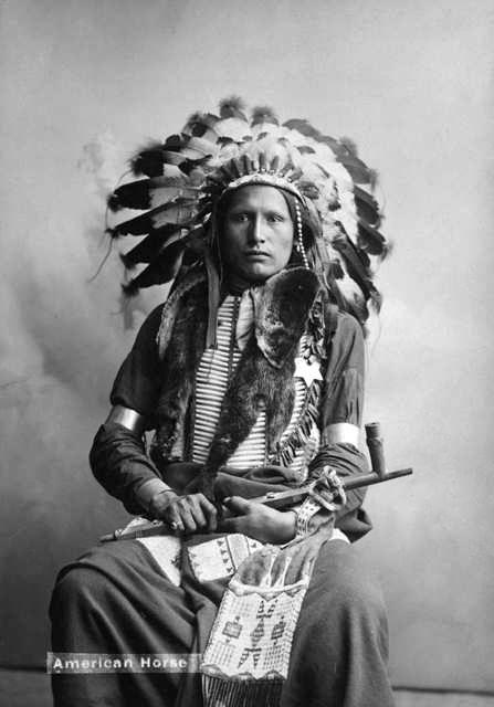 An old photograph of Young American Horse - Oglala c1900.