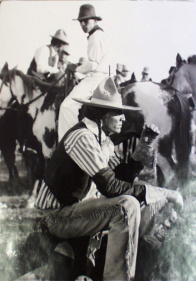 An old photograph of a Young Man in Fancy Dress - Fort Belknap, Montana.