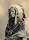 Bird Head wearing a Head-dress, Oglala Sioux Council Chief.