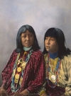Two San Carlos Apaches; Brushing Against and Little Squint Eyes [Colorized].