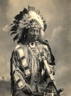 Last Horse, wearing a Headdress - Oglala Sioux.
