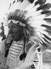 Red Cloud Wearing his War Bonnet.