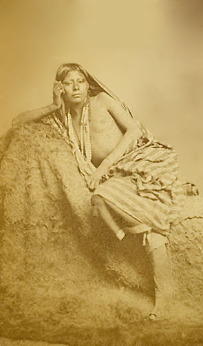 An old photograph of a Young Wichita Woman c1868