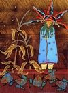 Kachina Paintings. Polik Mana Watching The Frogs Go By