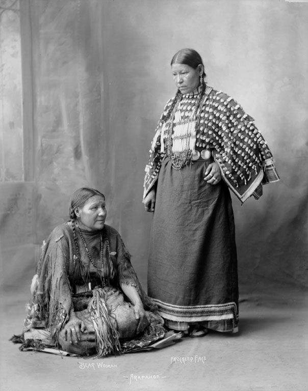 Two American Indians, Bear Woman and Freckled Face Woman of the Arapaho Nation 1898.