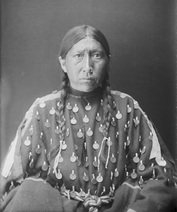 An American Indian named Eagle Woman aka Frances Bear Shield (wife of Bear Shield) - Oglala 1910.