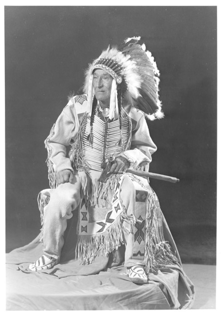 A photograph of the American Indian called Eagleman.