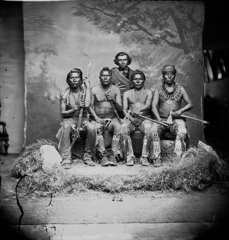 A group of 4 Pawnee Indians and 1 mixed blood 1868.