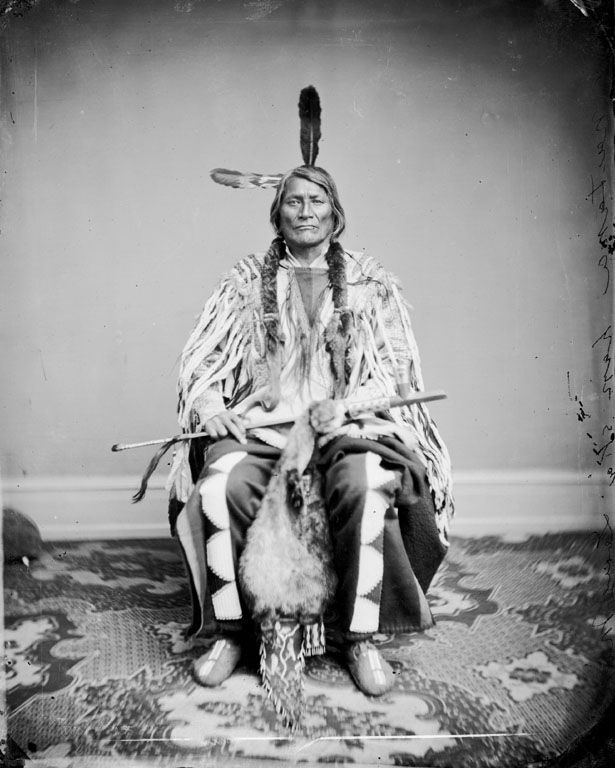 The Native American called Long Mandan or Ma-wa-tan-na-han-ska or Ma-va-ta-na-han-ska. Two Kettle Sioux, 1867.
