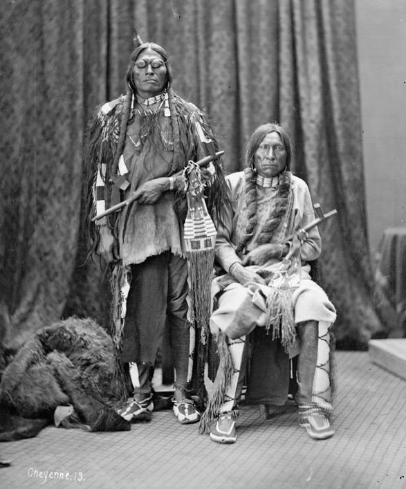 American Indians : Spotted Wolf with Crazy Head - Cheyenne 1877.