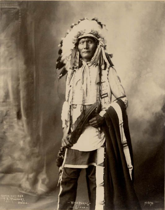 American Indians : With Horns - Oglala 1898.