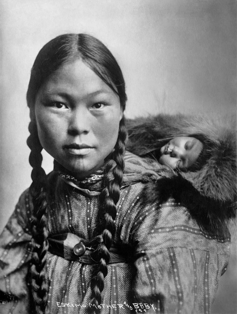 American Indians : Eskimo Mother and Baby.