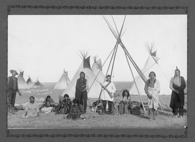 American Indians : Cree Family at Rocky Boy Reservation.