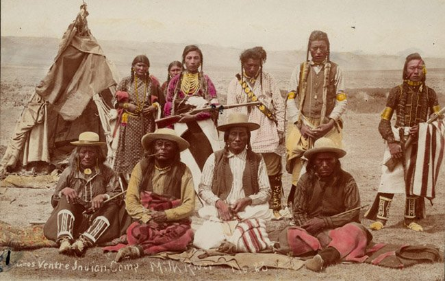 American Indians : Curley Head, Lame Bull and Others - Gros Ventre 1887.